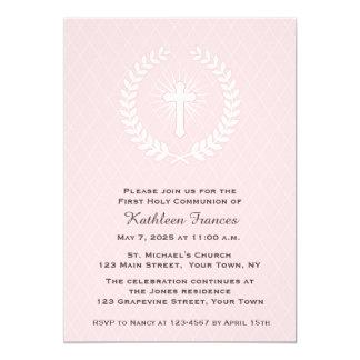 "Laurel, Cross, Pink, First Communion 5"" X 7"" Invitation Card"