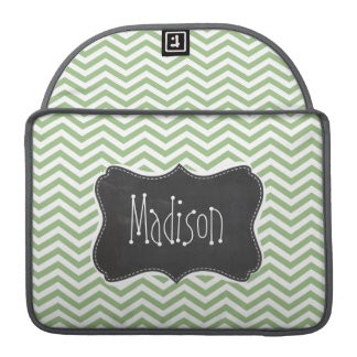 Laurel Green Chevron Stripes; Chalkboard look Sleeve For MacBooks