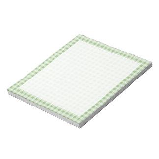 Laurel Green Gingham; Checkered Notepad