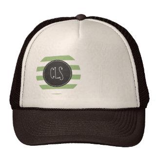 Laurel Green Horizontal Stripes; Chalkboard look Cap