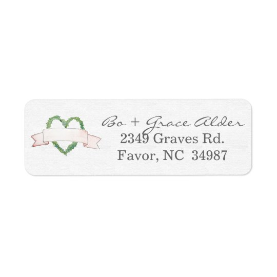 Laurel Heart Wreath Wedding Label