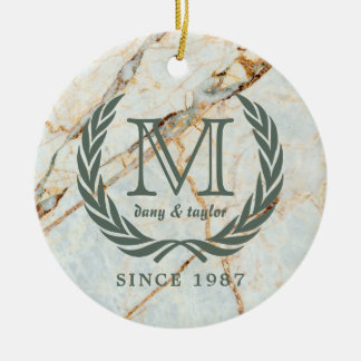 Laurel Leaf Classic Monogram Beautiful Marble Christmas Ornament