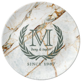 Laurel Leaf Classic Monogram Beautiful Marble Plate