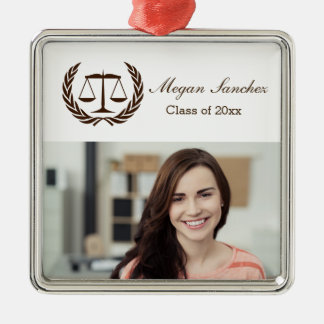 Laurel Leave Wreath | Scales of Justice Law School Silver-Colored Square Decoration