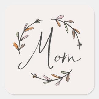Laurel Mother's Day Sticker - Tangerine Square Sticker