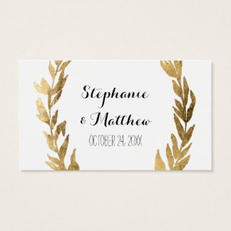 Laurel Olive Leaf Wreath Wedding Golden Gift Tags
