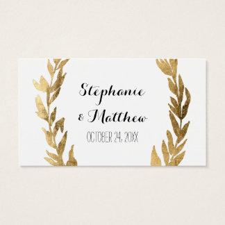 Laurel Olive Leaf Wreath Wedding Golden Gift Tags Business Card