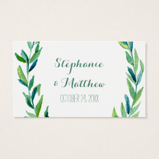 Laurel Olive Leaf Wreath Wedding Table Place Cards