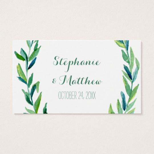 Laurel Olive Leaf Wreath Wedding Table Place Cards