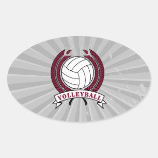 laurel volleyball emblem design oval sticker