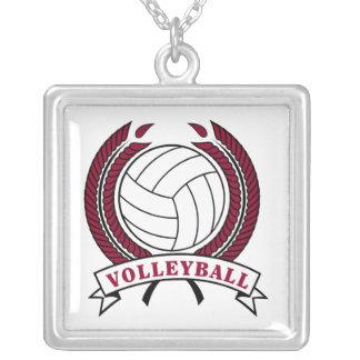 laurel volleyball emblem design square pendant necklace