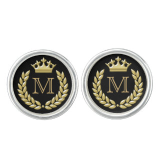 Laurel Wreath and Crown Cuff Links