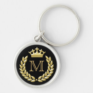 Laurel Wreath and Crown Silver-Colored Round Key Ring