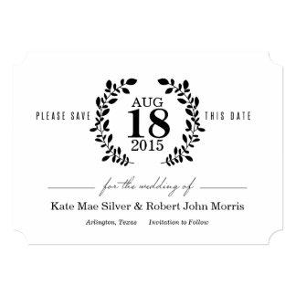 Laurel Wreath Black & White Nonphoto Save the Date 5x7 Paper Invitation Card