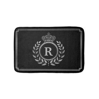 Laurel Wreath Crown Monogrammed Silver Black Royal Bath Mats