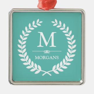 Laurel Wreath Decor Pastel Teal Family Monogram Christmas Ornament