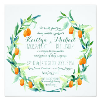Laurel Wreath Kumquat Leaf Branch Modern Square Card