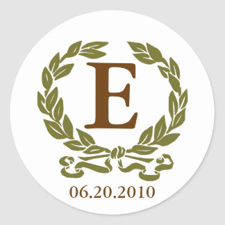 Laurel Wreath Monogram Sticker in Brown and Green
