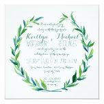 Laurel Wreath Olive Leaf Branch Modern Square 13 Cm X 13 Cm Square Invitation Card