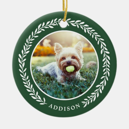 Laurel Wreath Pet Photo Christmas Ornament | Green