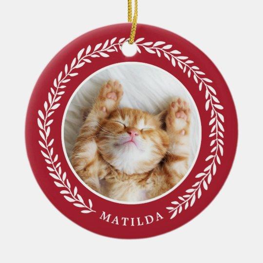 Laurel Wreath Pet Photo Christmas Ornament | Red