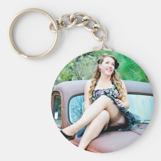 lauren basic round button key ring