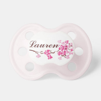 """Lauren"" Personalized Name Cherry Blossom Pacifier"