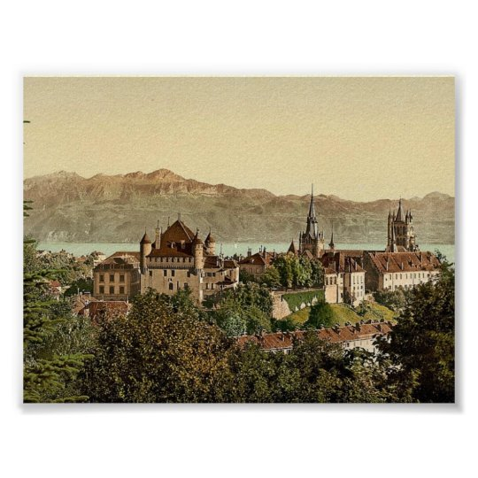 Lausanne, general view, with Savoy Alps, Geneva La