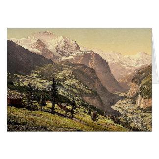 Lauterbrunnen Valley and Wengen, Bernese Oberland, Greeting Card
