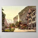 Lauterbrunnen Valley, street view with Staubbach W Poster