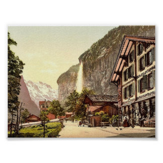 Lauterbrunnen Valley, street view with Staubbach W Poster