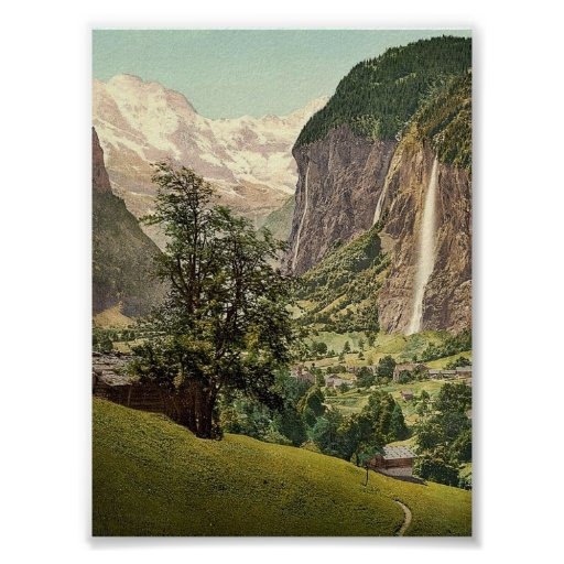 Lauterbrunnen Valley with Staubbach Waterfall, Ber Poster