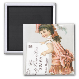 Lautz Bros Girl in Pink Dress Square Magnet