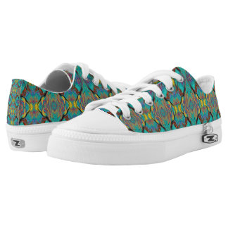 LAVA LAMP ABSTRACT OGEE KALEIDOSCOPE EMERALD LOW TOPS