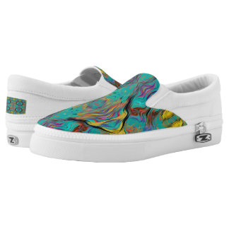 LAVA LAMP ABSTRACT OGEE KALEIDOSCOPE EMERALD Slip-On SHOES