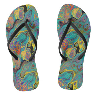 LAVA LAMP CURIOUS FLOWER EMERALD FLIP FLOPS