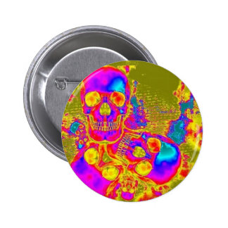 Lava Skulls Psychedelic Button