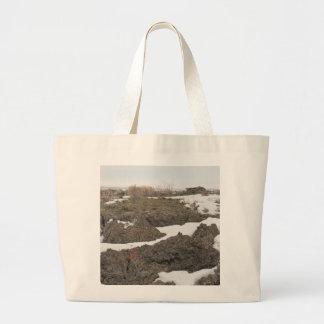 Lava / Snow in Idaho Tote Bags