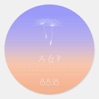 Lavanda Peach Gray Pastel Ombre Dandelion Round Sticker