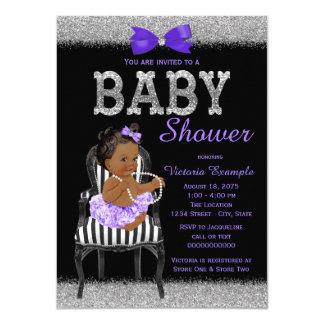 Lavend Purple Black Silver Ethnic Girl Baby Shower 11 Cm X 16 Cm Invitation Card
