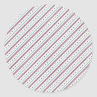 Lavendar Blue Stripes Round Sticker