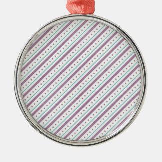 Lavendar Blue Stripes Silver-Colored Round Decoration