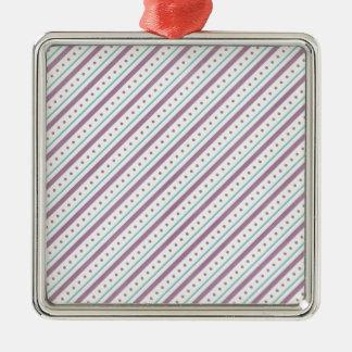 Lavendar Blue Stripes Silver-Colored Square Decoration