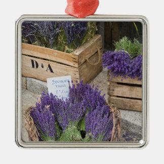 Lavendar for sale, Provence, France Silver-Colored Square Decoration
