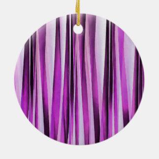 Lavendar, Iris and Grape Stripy Pattern Round Ceramic Decoration