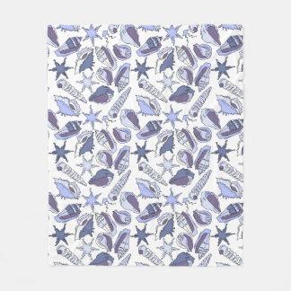 Lavendar Seashells Fleece Blanket