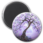 Lavendar Tree of Life 6 Cm Round Magnet