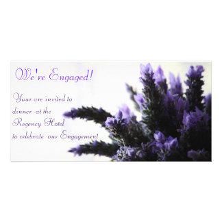 Lavendar - We re Engaged Customized Photo Card