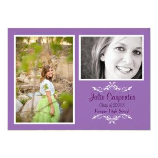 Lavender 2 Photo Simple Collage - Grad Announce Card