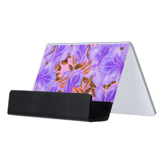 Lavender Abstract Flowers Desk Business Card Holder